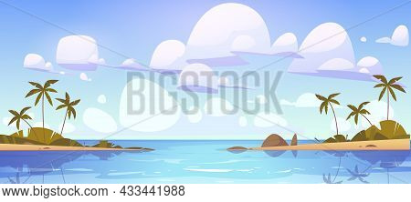 Tropical Landscape With Sea Bay And Palm Trees On Shore. Vector Cartoon Illustration Of Summer Seasc