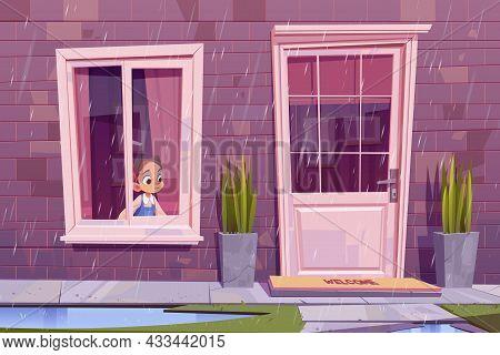 Sad Little Girl Sitting At House Window Looking On Street At Rainy Weather Waiting Rain Stop. Boring