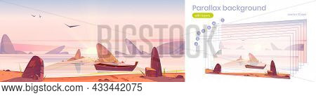 Parallax Background, Sunrise In Ocean 2d Nature Landscape. Separated Layers Wooden Boat Moored To Ro