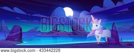 Cute Unicorn On Sea Beach At Night. Fairy Tale Illustration With Magic Animal On Coastline In Moonli