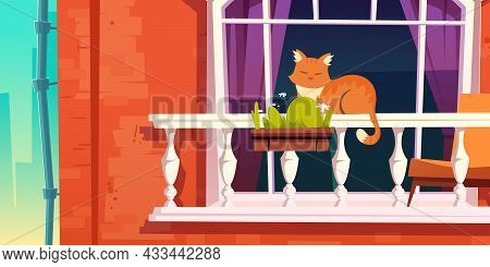 House Facade With Vintage Balcony. Vector Cartoon Illustration Of House Front With Brick Wall, Downp