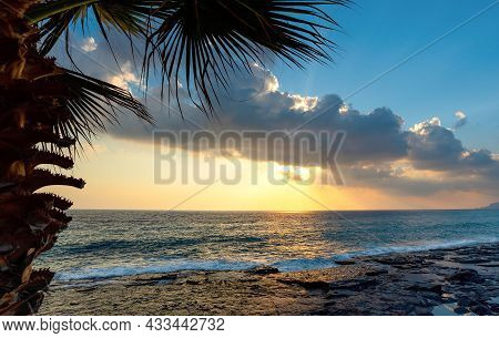 Golden Sunset On The Beach In Alanya, Turkey. Alanya Is One Of The Most Popular Resorts.