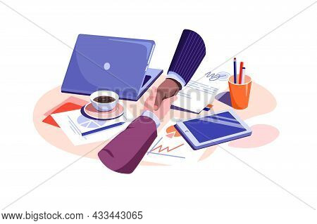 Business People Shaking Hands Over Paper Vector Illustration. Make Contract On Coffee Break Flat Sty