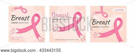 Set Of Vector Cards For Breast Cancer Awareness Month. Collection Of Square Banner Templates For Mam