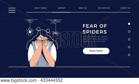 Arachnophobia, Fear Of Spiders Web Template. Frightened Woman Character Suffers From Spider Phobia,