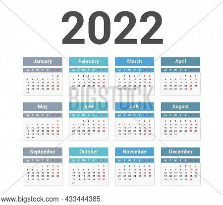 2022 Calendar, Week Starts On Monday, Vector Eps10 Illustration