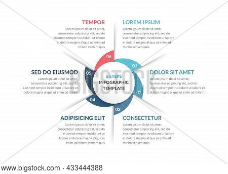 Circle Diagram Template With Six Steps Or Options, Process Chart, Vector Eps10 Illustration