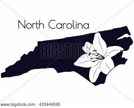 Silhouette Of The American State Of North Carolina With A Lily Flower. Stencil Card. Cut And Sublima
