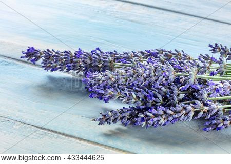 Lavender Flower Bouquet On A Rustic Wooden Background, A Bunch Of Lavandula Plants, Medicinal Herb