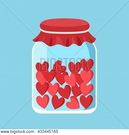 Cute Glass Jar With Red Hearts In Flat Design. Happy Valentine's Day. Love In The Bottle.