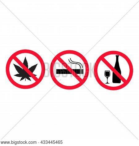 Set Of Prohibiting Signs On White Background. Do Not Smoke, No Alcohol, No Drugs Symbol. Prohibition