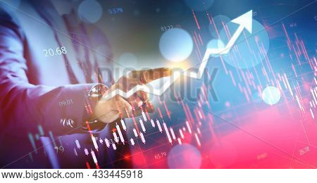 Businessman Using Finger Touch Business Graph, Concept Growth And Development Business Investment, S