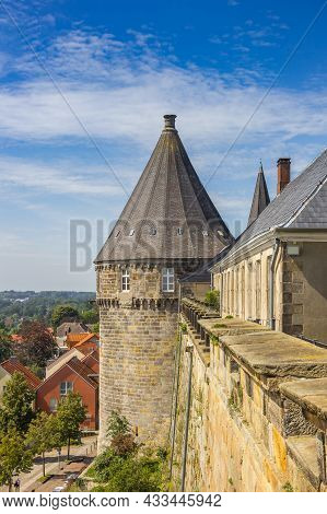 Corner Tower And Surrounding Wall Of The Bad Bentheim Castle In Germany