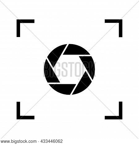 Black Camera Shutter Icon. Outline Shape. Isolated Sign. Photography Process Emblem. Vector Illustra