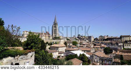 Panorama View On Saint Emilion Wine French Village Near Bordeaux France Unesco World Heritage Site I
