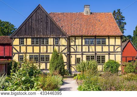 Old Yellow Half Timbered House In The Old Town Of Aarhus, Denmark