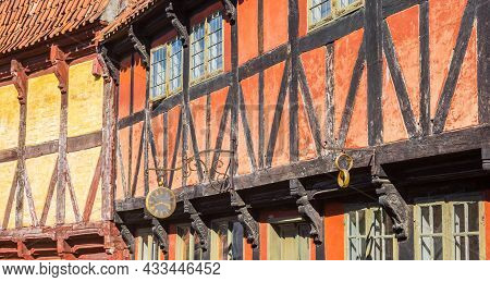 Panorama Of A Red Half Timbered House In The Old Town Of Aarhus, Denmark