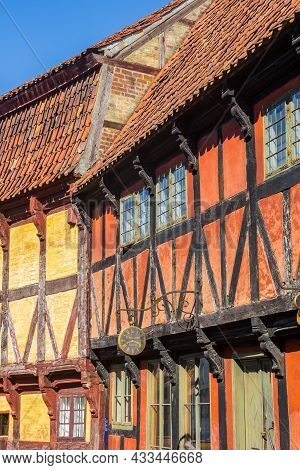 Aarhus, Denmark - September 01, 2021: Red And Yellow Half Timbered Houses In The Old Town Of Aarhus,