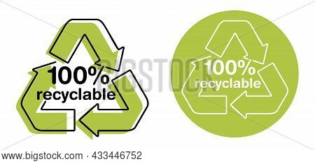 100 Percents Fully Recyclable Stamp For Biodegradable Materials And Products. Zero Waste Industry An