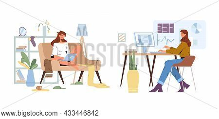 Working From Home Vs Office. Flat Official Worker At Computer In Workplace And Unofficial Woman On S