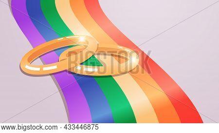 Wedding Golden Rings On Rainbow Flag Transgender Love Lgbt Community Tolerance Freedom Concept