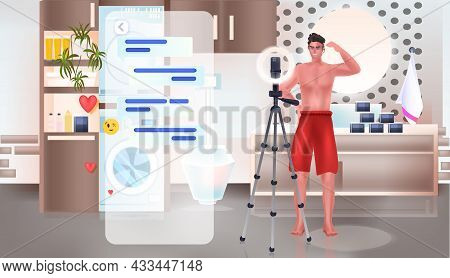 Man Beauty Blogger Recording Online Video With Camera On Tripod Blogging Concept Bathroom Interior