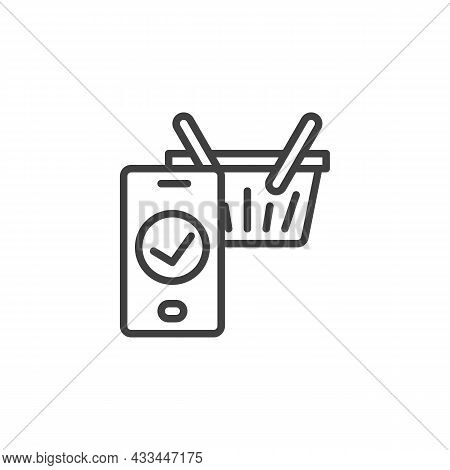 E-commerce, Checkout Line Icon. Linear Style Sign For Mobile Concept And Web Design. Shopping Basket