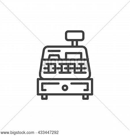 Cash Register Machine Line Icon. Linear Style Sign For Mobile Concept And Web Design. Shopping Cash