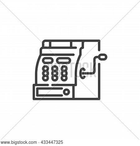 Antique Cash Register Line Icon. Linear Style Sign For Mobile Concept And Web Design. Retro Cash Mac