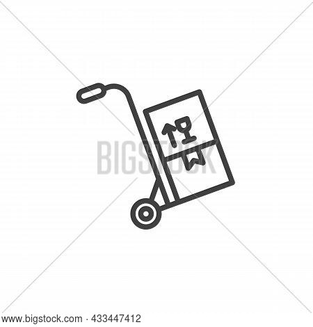 Trolley With Boxes Line Icon. Linear Style Sign For Mobile Concept And Web Design. Hand Truck With B