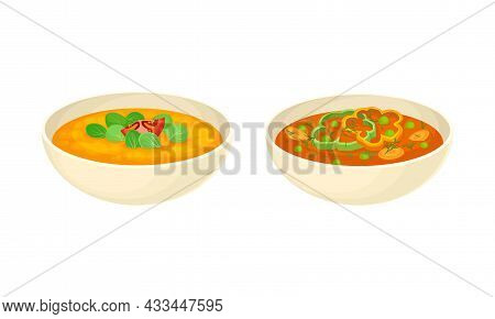 Served On Plate Dish With Creamy Vegetable Soup With Green Pea And Tomato Vector Set