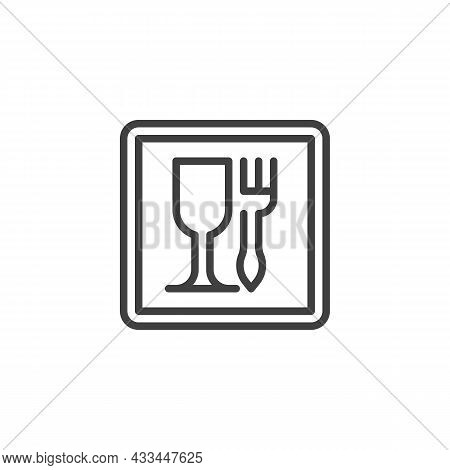 Food, Wine Glass And Fork Line Icon. Linear Style Sign For Mobile Concept And Web Design. Food Grade