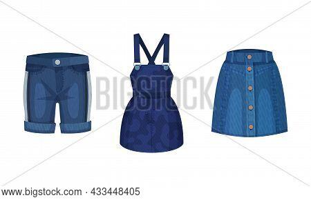 Fashion Denim Clothes Set. Trendy Female Shorts, Skirt, Dress Vector Illustration