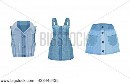 Fashion Denim Clothes Set. Trendy Female Vest, Skirt, Dress Vector Illustration