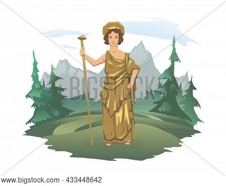 Hera, Ancient Greek Goddess Of Marriage, Mothers And Families. Ancient Greece Mythology. Forest And