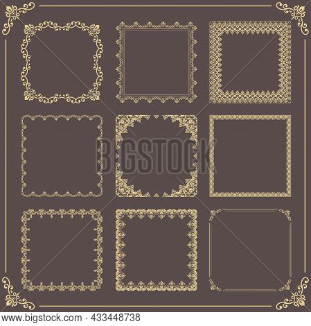 Vintage Set Of Vector Elements. Golden Square Elements For Decoration And Design Frames, Cards, Menu