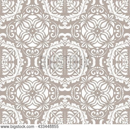 Classic Seamless Vector Pattern. Damask Orient Brown And White Ornament. Classic Vintage Background.