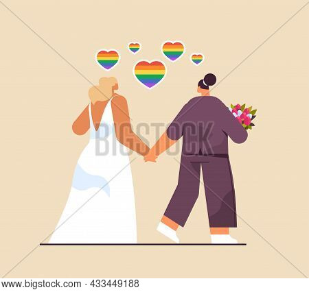 Newlywed Lesbian Couple With Flowers Standing Together Transgender Love Lgbt Community Wedding Celeb