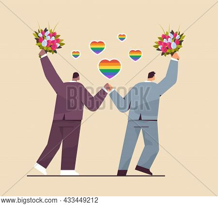 Newlywed Gay Couple With Flowers Standing Together Transgender Love Lgbt Community Wedding Celebrati