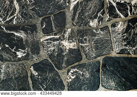 Texture Of Paving Stones Pattern Resembling Marble.
