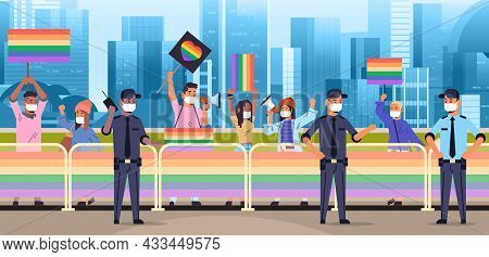 Mix Race People In Masks With Lgbt Placards On Lesbian Gay Pride Festival Transgender Love Lgbt Comm