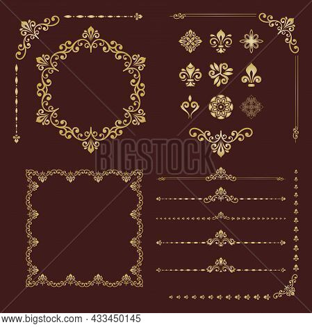 Vintage Set Of Vector Horizontal, Square And Round Elements. Different Brown And Golden Elements For