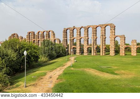 Acueducto de los Milagros, Miraculous Aqueduct in Merida, Extremadura, Spain is a ruined Roman aqueduct bridge, aqueduct built to supply water to the Roman colony of Emerita Augusta, Merida, Spain.