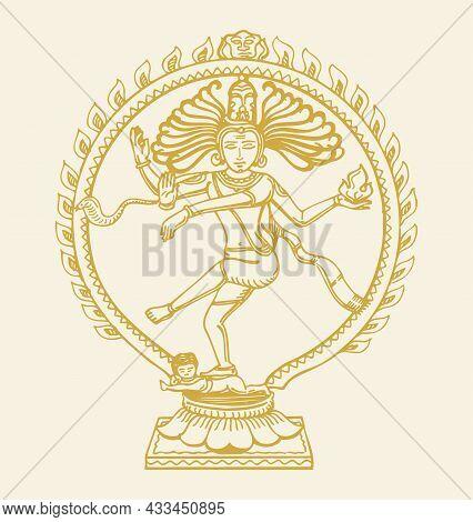 Sketch Of Gold Color Dancing Lord Shiva Or Nataraja Statue Outline Editable Illustration