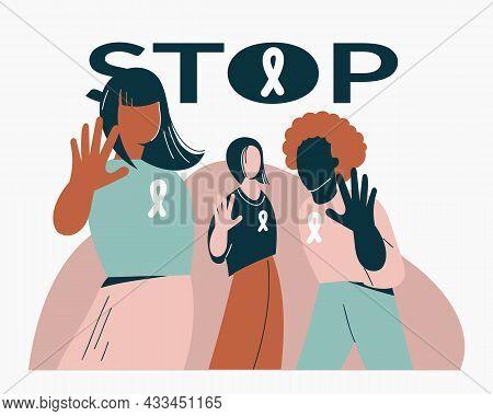 Gender Violence Concept Women Show Stop Gesture Or Sign Protest Against Racial Or Gender Discriminat