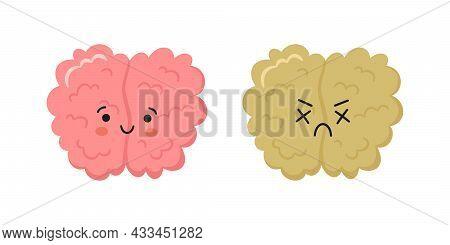 Kawaii Happy Human Brain Character And Sad Crying Brain Character. Hand Drawn Symbols Of Healthy Min