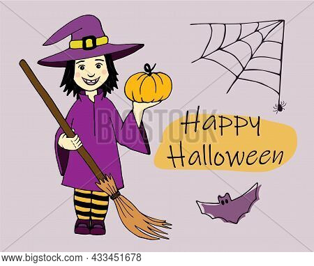 Adorable Little Witch, Happy Halloween Banner. Hand Drawn Witch Girl With A Pumpkin In Her Hand