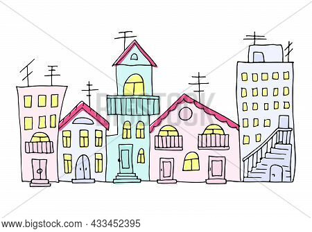 Vector Illustration Of A Town View With Colorful Blocks Of Flats. Doodle Drawn Houses For Banner, Po