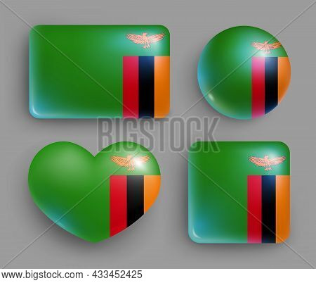 Set Of Glossy Buttons With Zambia Country Flag. Southern Africa Republic National Flag, Shiny Geomet
