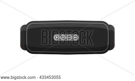 Portable Wireless Speaker For Music. Smart Device For Audio And Radio. Black Stereo Loudspeaker Isol